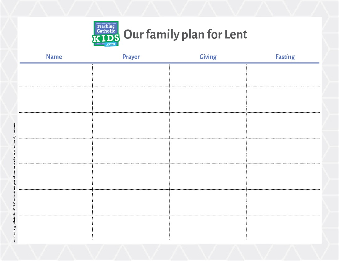 Make a family plan for Lent